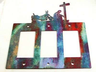 Cowboy Prayer Cross Motorcycle Triple Rocker Outlet Cover Plate by Steel Images