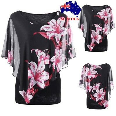 Plus Size Women Floral Printed Mesh T-shirt Ladies Casual Loose Tops Size 20-28
