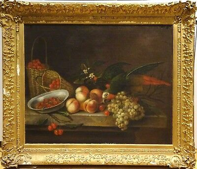 Large 17th Century Still Life Of A Parrot Peaches Cherries Grapes & Strawberries