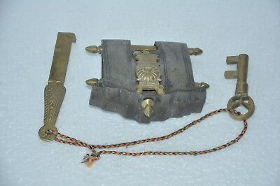 Old Iron Solid Heavy Big 2 Key Tricky / Puzzle Padlock , Rich Patina