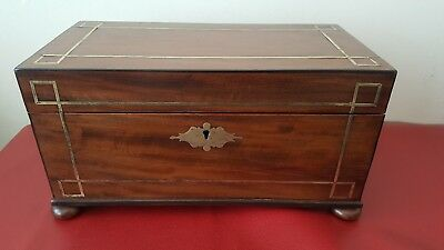 Regency Period Tea Chest with glass sugar bowl and stunning inlay work