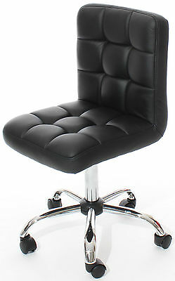 Reboxed Home Office Chair Chrome Base Wheels & Lift Black Pu Leather Bar Stool
