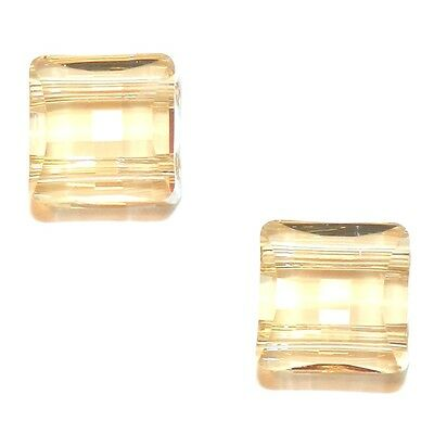 SCFX128 Golden Shadow 10mm Stairway Square w 2-Holes Swarovski Crystal Bead 2pc