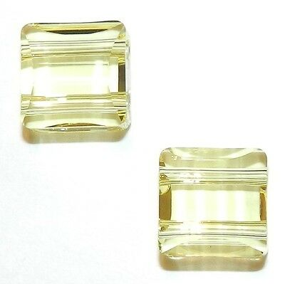 SCFX139 Jonquil Yellow 10mm Stairway Square w 2-Holes Swarovski Crystal Bead 2pc