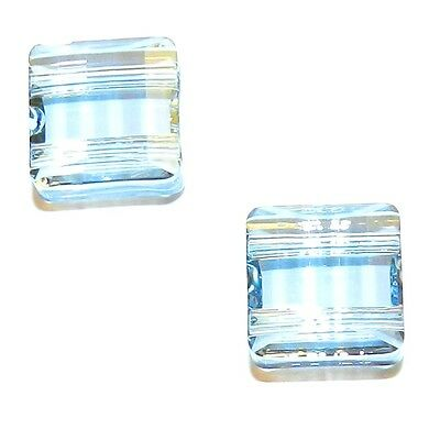 SCFX1129 Blue Shade 10mm Stairway Square w 2-Holes Swarovski Crystal Bead 2pc