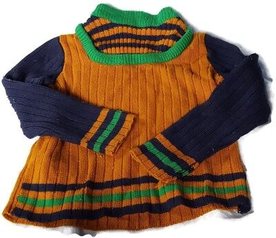 1970's Just Mine Cable Sweater Gold, Blue, Green Size 7 - Vintage Girls Clothing