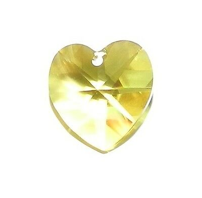 SCI285 Light Topaz Yellow 14mm Faceted Heart Swarovski Crystal Bead 1pc