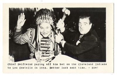 BASEBALL RPPC - Lou COSTELLO & CHIEF SWIFTWIND 1954 Cleveland INDIANS BET! Rare