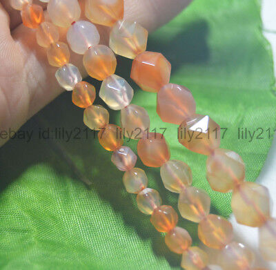 """Faceted Natural Red Agate Polygons Diamond Shaped Cut Gems Loose Beads 15"""" AAA"""