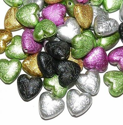 APL380 Mix Color Acrylic Drawbench Metallic Matte 17mm Puff Heart Beads 20pc