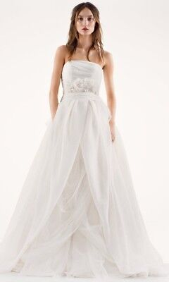 New With Tags White By Vera Ivory Textured Organza
