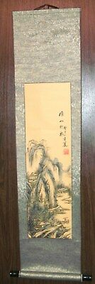 """Scroll Painting/Printing pasted paper w/silk 44"""" long . """"Winter time"""""""