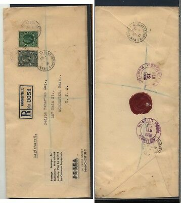 Great   Britain   registered cover for US from stamp dealer  1936      MS0830