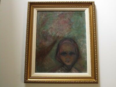 Mid Century Painting Mystery Artist Expressionism Female Woman Portrait Model