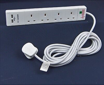5 Meter Long 4 Way Surge Protected Extension Lead with 2 x USB Charging Sockets