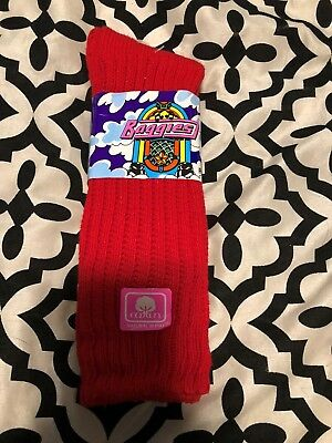 Vintage red Cotton Slouch Socks Baggies New Ballston Deadstock 80s Old Stock