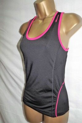 Karrimor Run ~ Ladies Black & Pink Racer Back Bust Support Sports Top ~ Size 8
