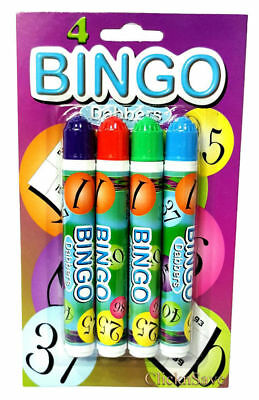 Bingo Dabbers Bingo Markers Multi-Coloured Pens For Bingo Tickets Pack Of 4