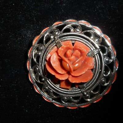 Anique Art Deco Enamel Carved Red Coral Rose Flower Sterling Brooch Pin Old