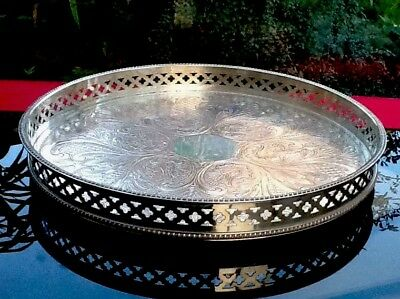 LARGE VINTAGE SILVER PLATED on COPPER GALLERY TRAY CHASED 31cms Sheffield