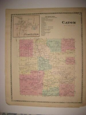Antique 1873 Caton & Center Steuben County New York Handcolored Map Superb Nr