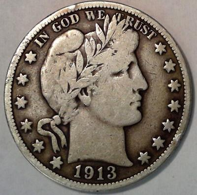 Over 100 Years Old U.s Coin***1913 Barber Silver Half Dollar Key Date Vg/f #6159