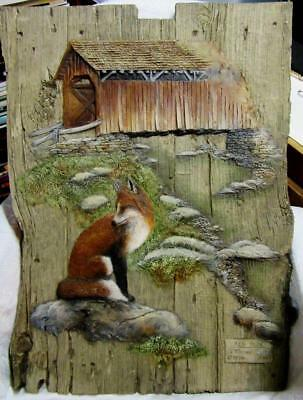 1996 G. TURNER RED FOX EMBOSSED WALL PLAQUE PICTURE  Lt'D Series # 112 w  COA