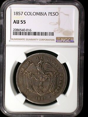 Republic of Colombia 1857 Peso *NGC AU-55* Only 4 Known Only 1 Graded Higher