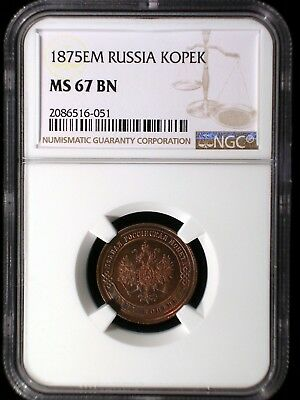Russia Empire 1875 EM Kopek *NGC MS-67* >Tops Pops< Finest Known Scarce in UNC