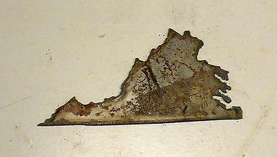 6 Inch Virginia VA State Shape Rusty Metal Vintage Stencil Ornament Craft Sign
