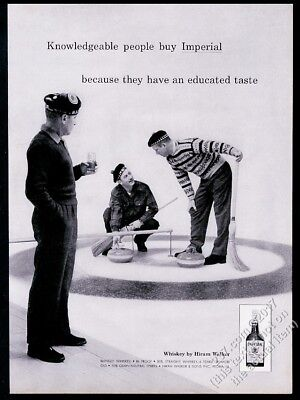 1959 curling sports stone ice broom photo Imperial Whiskey vintage print ad