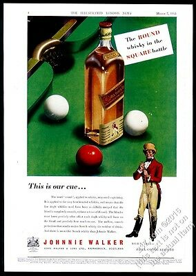 1953 Johnnie Walker Scotch Whisky snooker table balls pic vintage print ad