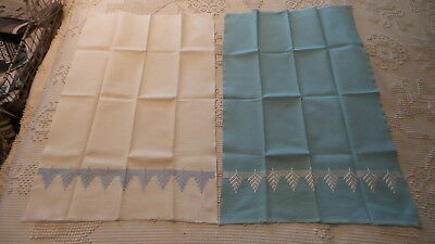 2 Vintage Huck EMBROIDERED GUEST TOWELS Blue & White