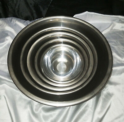 Vintage Small To Large 18-0 Stainless Steel Nesting Mixing Bowls - Lot Of 5