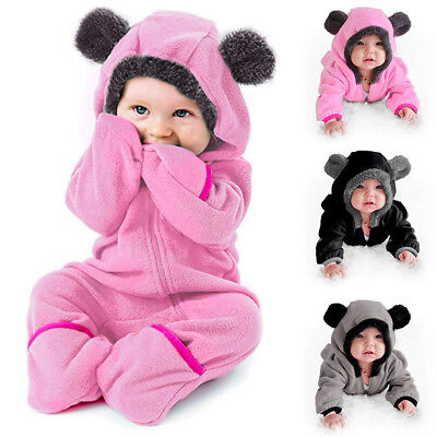 Baby Infant Boy Girl Romper Hooded Jumpsuit Bodysuit Outfits Clothes