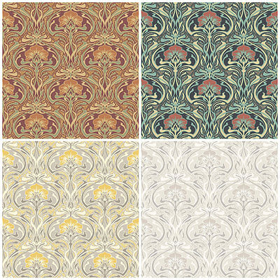 Crown Flora Nouveau - William Morris Style Wallpaper - Vintage Retro Wall Decor