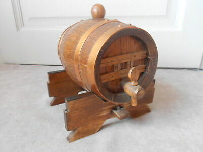Vintage French Brittany Copper OAK brandy petit BARREL with its rack