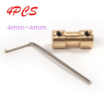4pcs 4mm-4mm Copper Rigid Shaft Motor Coupling Coupler Connector +Spanner Screw