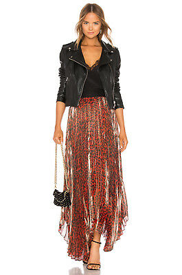 c8aa3133f1 ALICE OLIVIA Katz pleated Leopard Print silk-blend lamé Maxi skirt $695 NEW