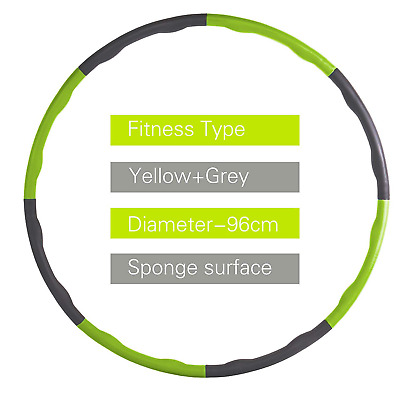 Weighted Gym Hula Hoop Fitness Exercise Abs 1.2Kg Foam Padded Workout Hoola Yoga