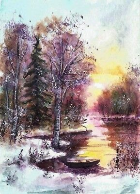 ACEO original snow winter painting Woodland sunset river boat landscape art card