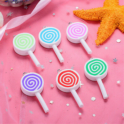 10PCs Polymer Clay Lolipop Candy Food Pendant Charms Kawaii DIY Jewelry Necklace