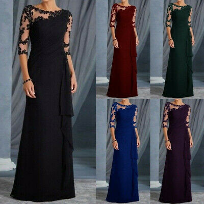 Womans Long Lace 3/4 Sleeve Formal Evening Dress Ruffles Cocktail Party Dresses
