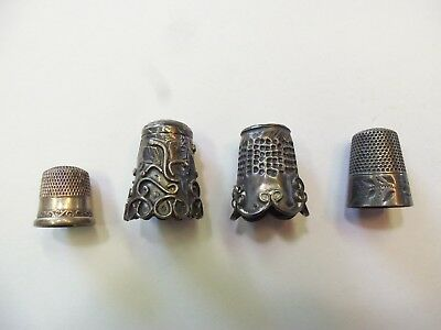 Antique Vintage Sterling Silver Thimble Lot of 4