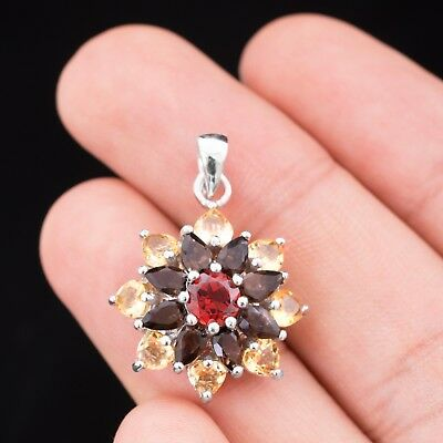 100% Natural 6Mm Garnet Smoky Quartz Citrine Rare Sterling Silver 925 Pendant