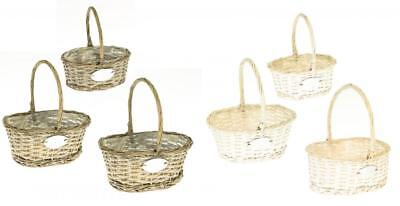 Plastic Lined Wicker Shopping Basket with Handle
