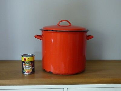 Large vintage enamelware red French bread bin/stock pot