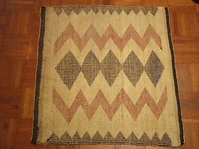 Antique Old Native American Indian Rug 29 Inches Geometric Folk Blanket Navajo