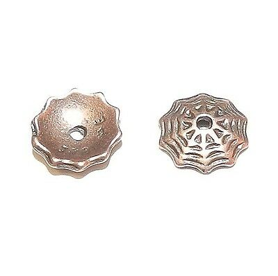 M335 Antiqued Copper 8mm Round Lacy Spider Web Pewter Bead Caps 2pc