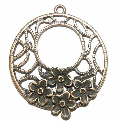 M367 Antiqued Copper 35mm Open Round with Flowers Metal Alloy Drop Pendant 4pc